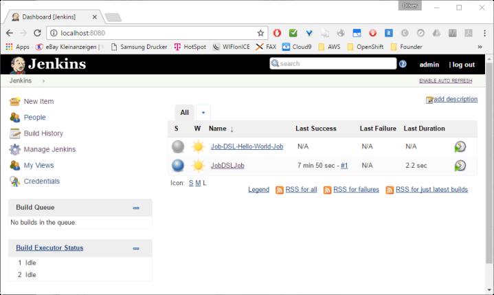 Jenkins Dashboard showing automatically created Job-DSL-Hello-World-Job