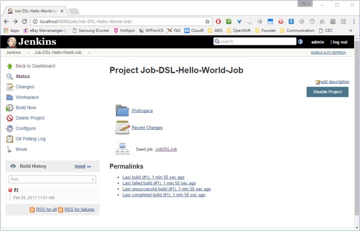 Project Job-DSL-Hello-World-Job showing build failure