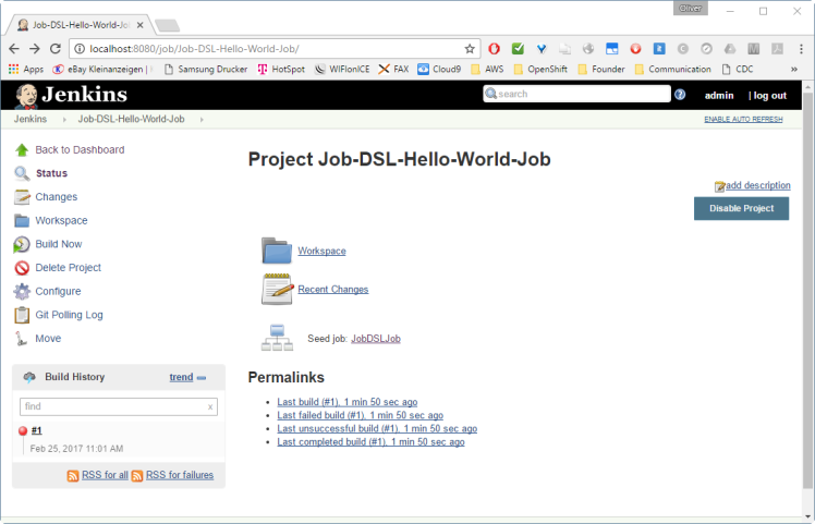 Project Job-DSL-Hello-World-Job showing build failure