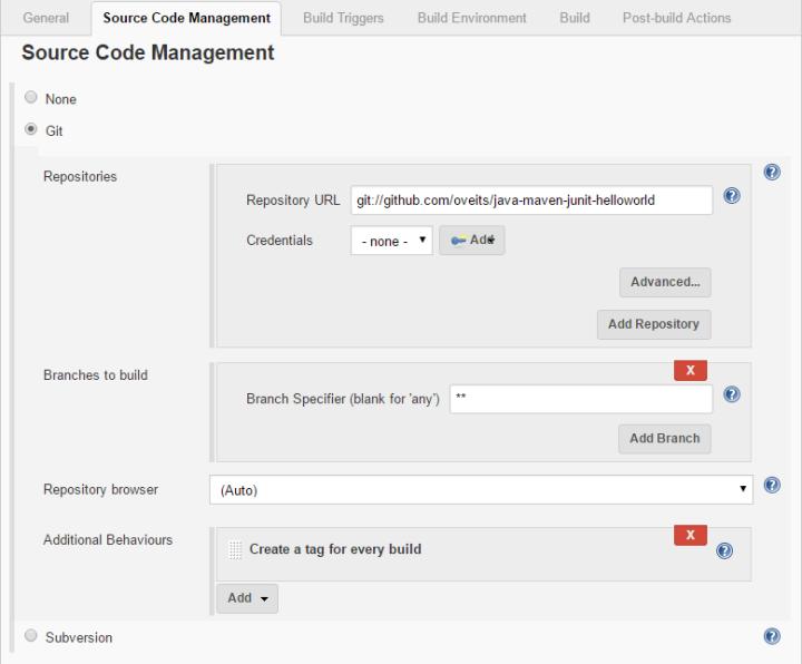 Source Code Management shows correct git URL
