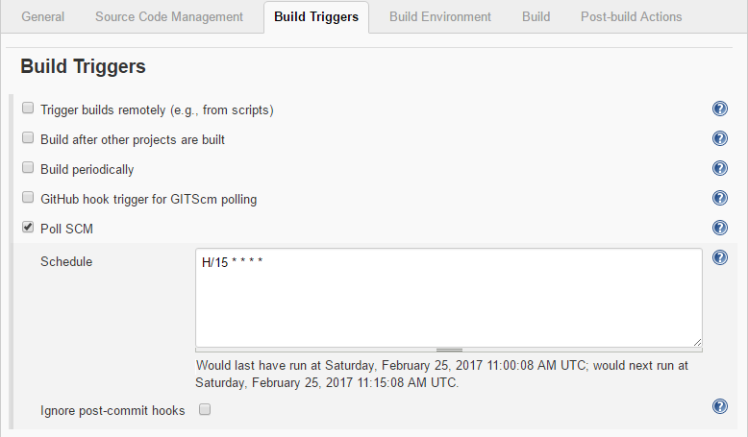 Build Triggers showing Poll SCM every 15 minutes