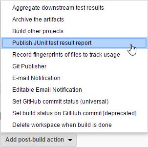 Add post-build action: Publish JUnit test result report