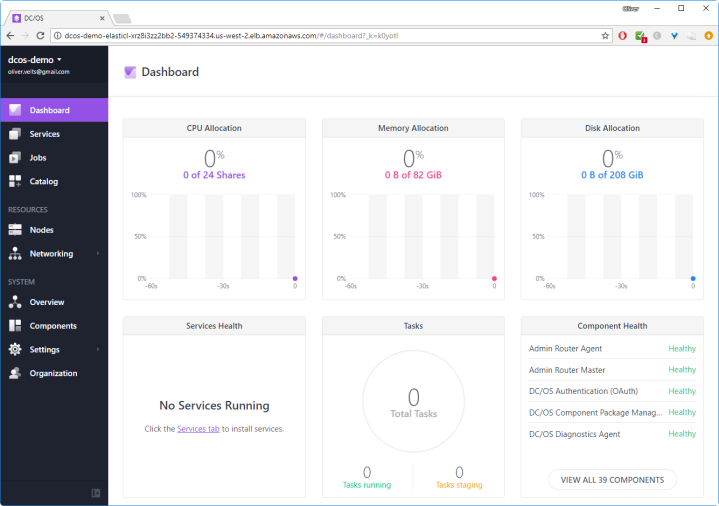 DCOS Dashboard on AWS