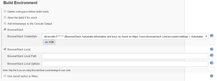 """Build Environment: check """"BrowserStack"""" and """"BrowserStack Local""""; keep defaults"""